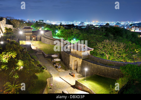 Protective wall on the grounds of Shuri Castle in Naha, Okinawa, Japan. - Stock Photo