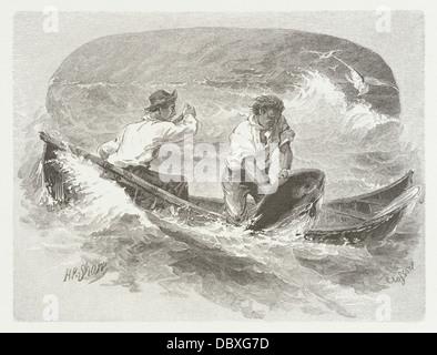 Two Men in Boat, Fishing 47.31.95 - Stock Photo