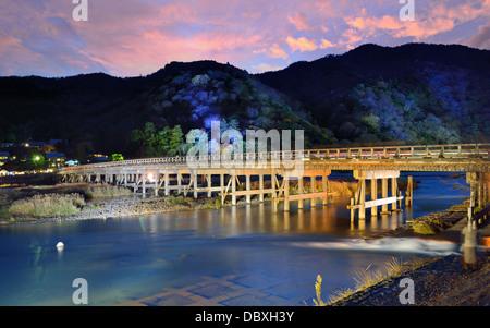 Katsura River and Togetsukyo Bridge in Arashiyama, Kyoto, Japan. - Stock Photo