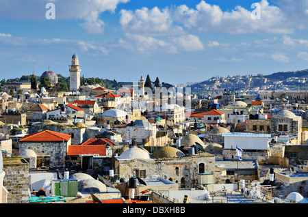 Skyline of the Old City in Jerusalem, Israel. - Stock Photo