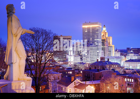 Providence Rhode Island skyline with Roger Williams monument. - Stock Photo
