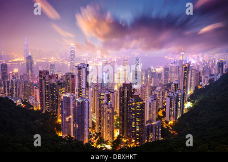 Hong Kong, China skyline from Victoria Peak. - Stock Photo
