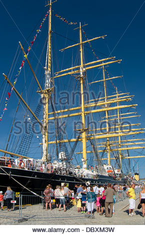 Famous russian sailing ship Kruzenshtern in Tallinn. Visitors, gue, line - Stock Photo