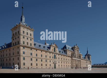 Main facade of the monastery, San Lorenzo de El Escorial, Spain. - Stock Photo