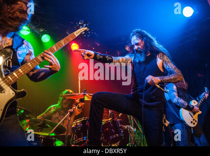 Chicago, IL, USA. 04th Aug, 2013. Ohio thrash metal band Skeletonwitch perform at a Lollapalooza afterparty at the - Stock Photo