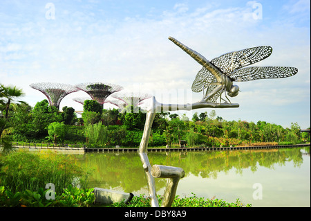 Dragonfly sculpture at Gardens by the Bay in Singapore - Stock Photo