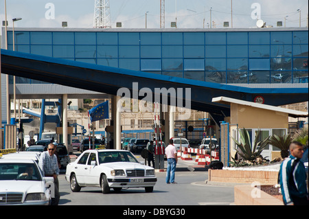 The Tarajal border checkpoint between Ceuta and Morocco. Spain. - Stock Photo