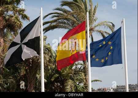 Ceuta,Spain and European community flags .Ceuta, Spain. - Stock Photo