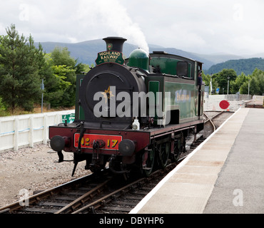 Steam engine 'Braeriach' on the Strathspey Steam Line, Scotland, at Aviemore Station - Stock Photo