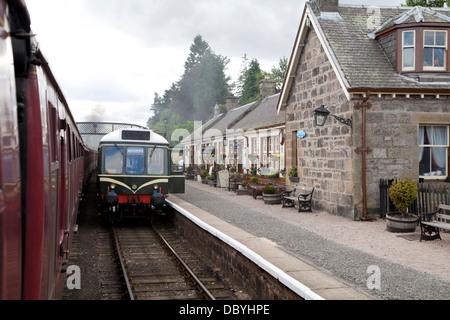 A restored Diesel Multiple Unit on the Strathspey Steam Line at Boat of Garten Station, Scotland. - Stock Photo