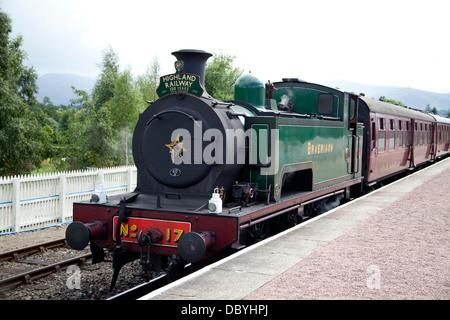 Steam engine 'Braeriach' on the Strathspey Steam Line, Scotland, at Aviemore Station - Stock Photo