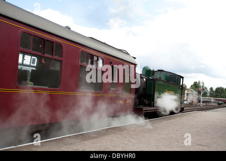 Steam engine on the Strathspey Steam Line, Scotland - Stock Photo
