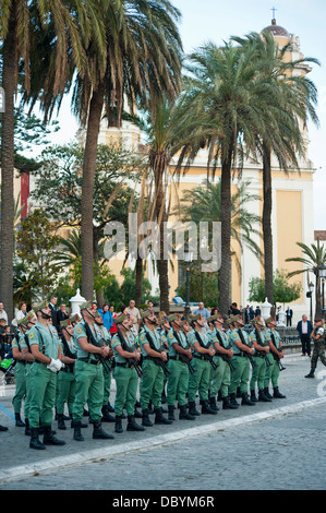 Legionary regiment in a military parade in Ceuta ( Spanish enclave on the North African coast) Spain. - Stock Photo