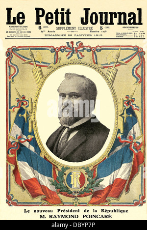 Front page of the weekly illustrated supplement of 'Le Petit Journal', celebrating the election of Raymond Poincaré, - Stock Photo