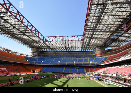 Milan San siro stadium in a wide angle lens, one of most famous football stadium in the world. - Stock Photo