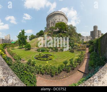 34mp wide-lense panorama of the inner moat garden of Windsor Castle in Windsor, England. - Stock Photo