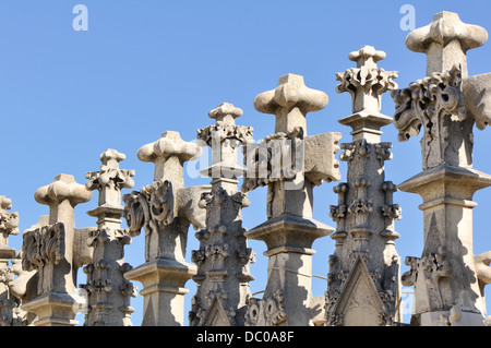 Different Gothic style statues of milano Duomo, one of the biggest Gothic style church in the world. - Stock Photo