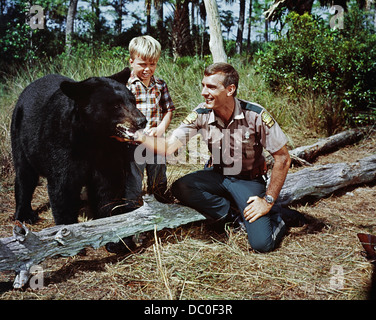 1967 GENTLE GIANT MOVIE BASED ON GENTLE BEN TV SERIES DENNIS WEAVER,GENTLE BEN, CLINT HOWARD - Stock Photo