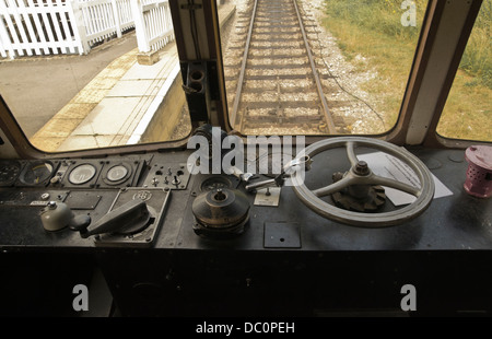 controls inside cab of a diesel train at Wirksworth Peak District Derbyshire - Stock Photo