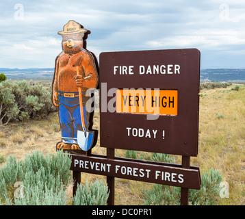 Smokey the Bear fire danger sign in southern Utah, USA - Stock Photo