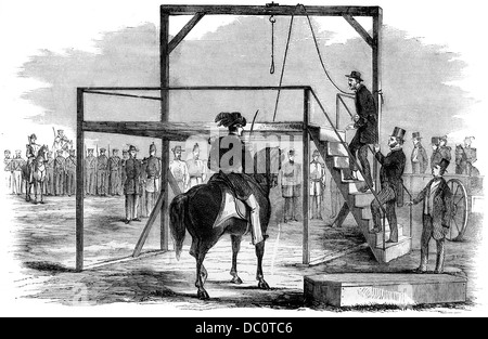 1800s 1850s DECEMBER 1859 JOHN BROWN ASCENDING THE SCAFFOLD TO BE HANGED FROM HARPER'S WEEKLY - Stock Photo