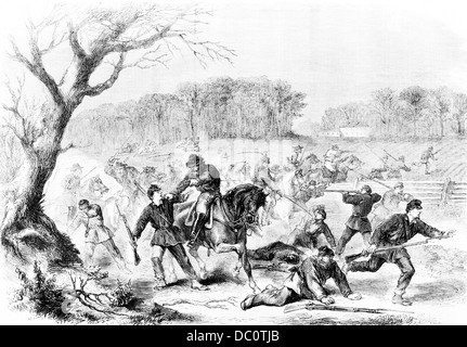 1860s AMERICAN CIVIL WAR CONFEDERATE CAVALRY SURPRISE ADVANCE POST OF UNION GENERAL BLENKER AT ANANDALE VIRGINIA - Stock Photo
