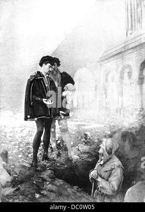 ILLUSTRATION FROM SHAKESPEARE'S HAMLET GRAVE DIGGER ALAS POOR YORICK I KNEW HIM WELL HAMLET HOLDING SKULL - Stock Photo