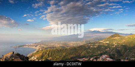 Panorama of the Etna and the sicilian coastline, Italy - Stock Photo