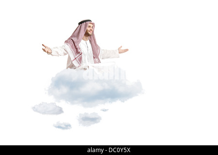 Young arab person sitting on a cloud - Stock Photo