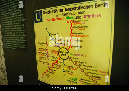 Germany, Berlin. Nordbanhof Station. Display mapping East Berlin 'ghost stations'. - Stock Photo