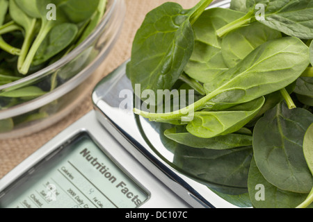 fresh spinach on diet scale displaying nutrition facts - a diet concept - Stock Photo
