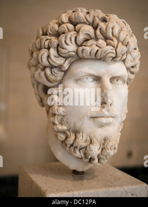 Portrait Bust of Roman Emperor Lucius Verus. Marble statue, 164-169 CE. - Stock Photo