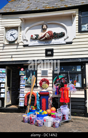 Broadstairs, Kent, England, UK. Old Lifeboat House with beach toys for sale - Stock Photo