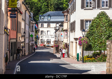One of the main streets through the picturesque village of Vianden in Luxembourg. - Stock Photo