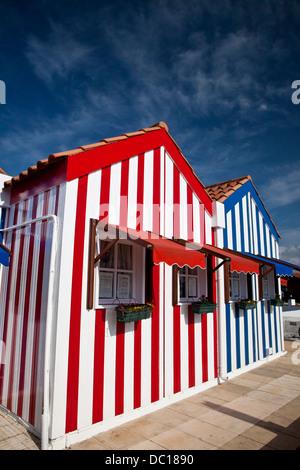 Europe, Portugal, Aveiro, Costa Nova. 'Palheiros' typical colorful houses, Costa Nova, Aveiro. - Stock Photo