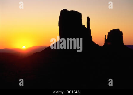Sunrise  behind a Mesa. Monument Valley. Arizona-Utah. USA - Stock Photo