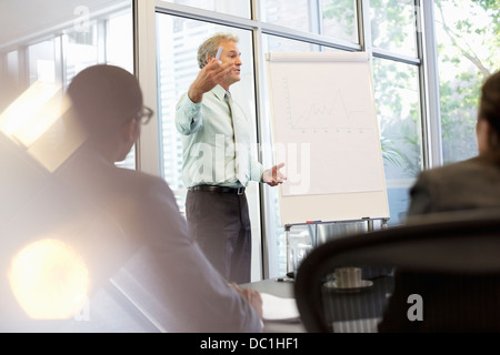 Businessman gesturing at flipchart in meeting - Stock Photo