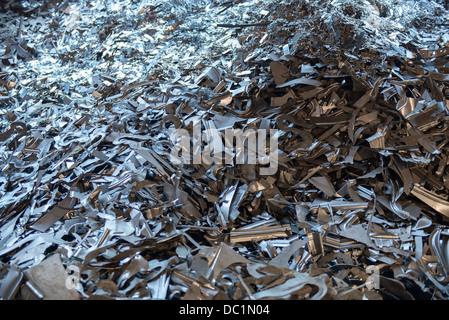 Pile of scrap metal in steel plant - Stock Photo