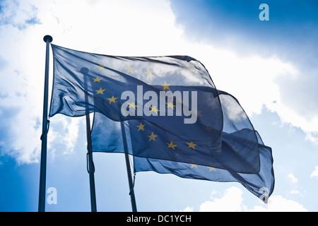 European community flags - Stock Photo