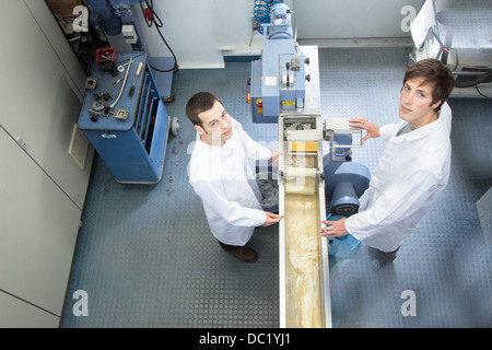 Elevated view of two scientists in technical laboratory
