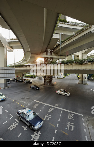 High angle view of traffic on road, Shanghai, China - Stock Photo