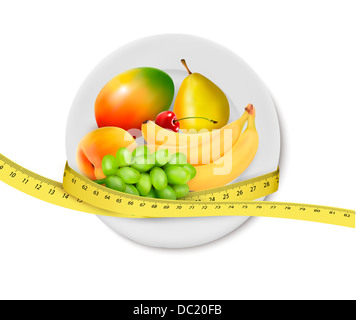 Diet meal. Fruit in a plate with measuring tape. Concept of diet. Vector illustration  - Stock Photo