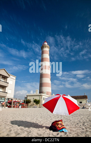 Europe, Portugal, Aveiro, Costa Nova. Barra lighthouse, built between 1855 and 1893. - Stock Photo