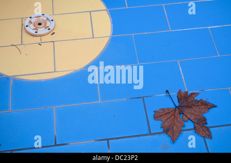 Empty Dry Off-season Swimming Pool Drain with Brown Leaf - Stock Photo