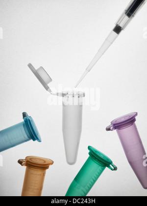 Pipette and eppendorf vials - Stock Photo