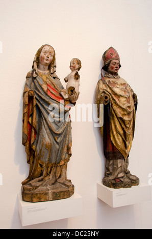 Switzerland, Basel. Barfusserkirche Historical Museum, inside the Barfusser Church. Historic religious carvings. - Stock Photo