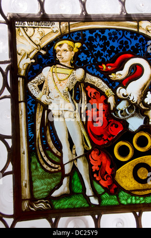 Switzerland, Basel. Barfusserkirche Historical Museum, in Gothic Barfusser Church. Stained glass collection, circa - Stock Photo