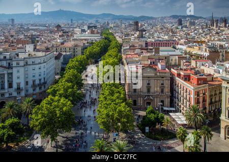 Top view over La Rambla street, Barcelona, Catalonia, Spain - Stock Photo