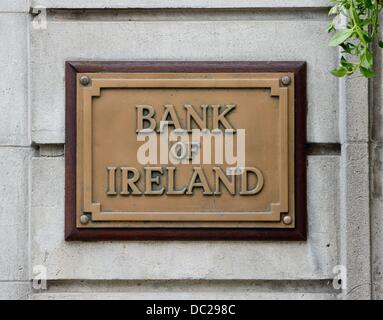 A sign of the Bank of Ireland is pictured in Enniskillen, Northern Ireland, Great Britain, 16 June 2013. Photo: - Stock Photo