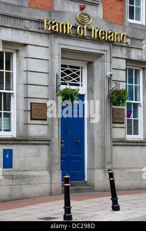 The entrance to a branch of the Bank of Ireland is pictured in Enniskillen, Northern Ireland, Great Britain, 16 - Stock Photo